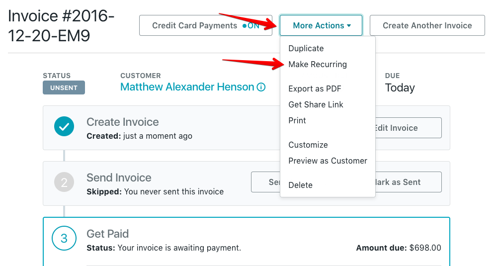 click more actions at the top of the page and select make recurring from the drop down menu - Make An Invoice