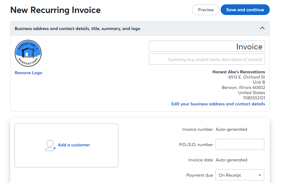 Guide To Recurring Invoices Help Center - What is invoice number on receipt for service business