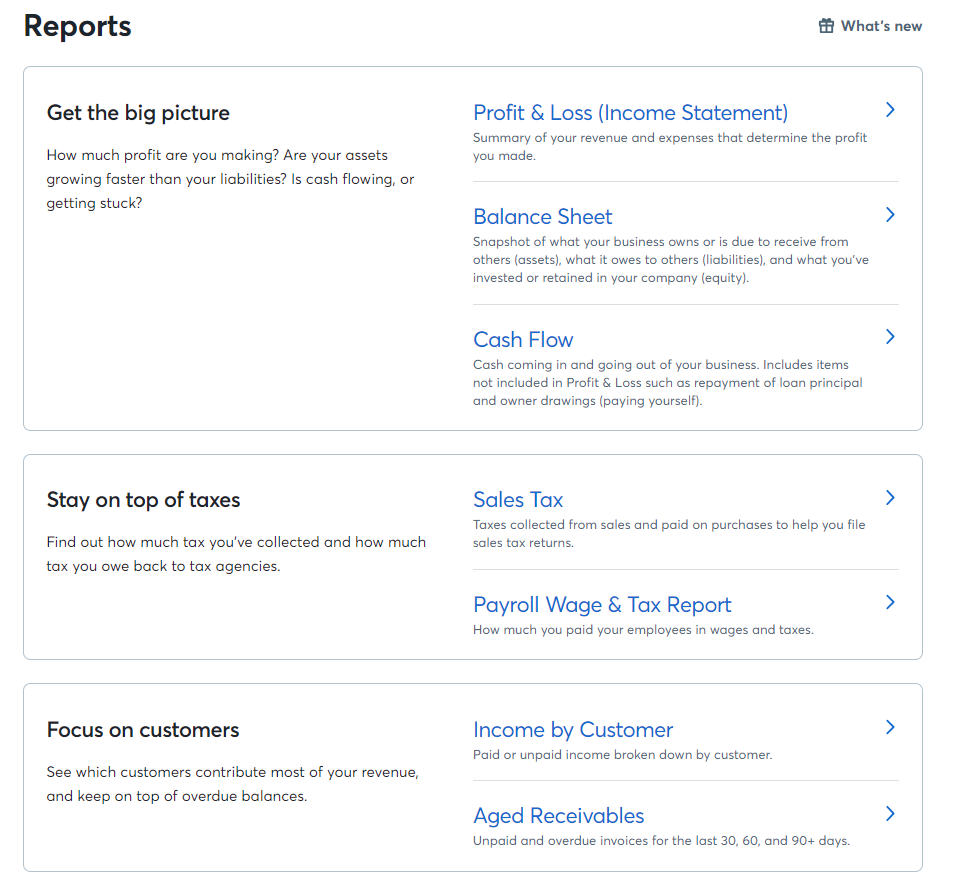 updates to reports for invoicing help center