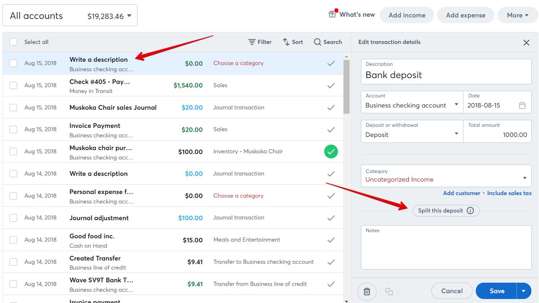 How To Split A Transaction Help Center - Quickbooks online invoice deposit