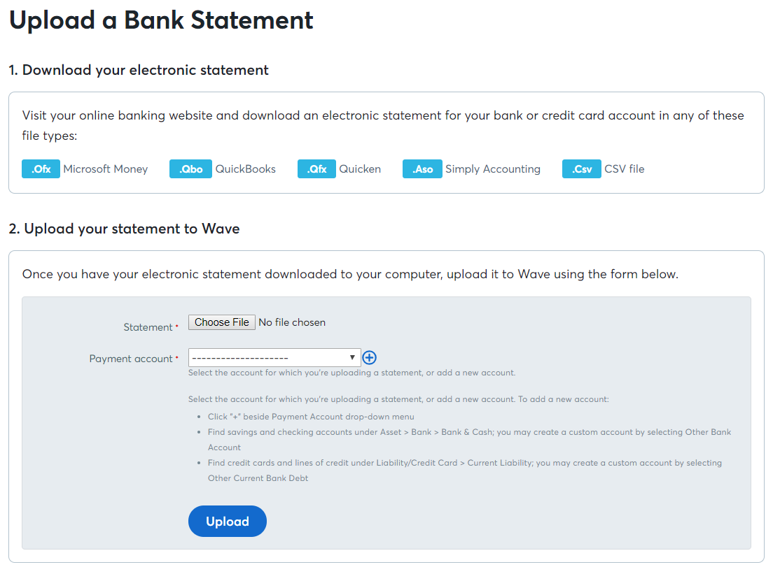 Upload bank and credit card statements – Help Center