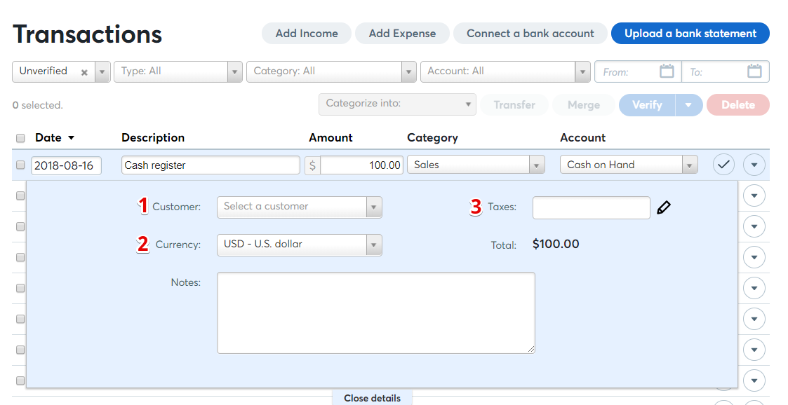 how to manually add an income transaction help center