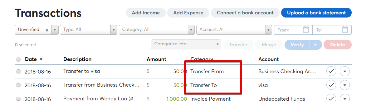 How to create a transfer between two accounts (e g
