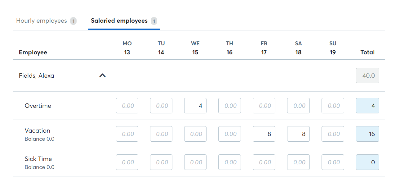 updates to employee timesheets help center