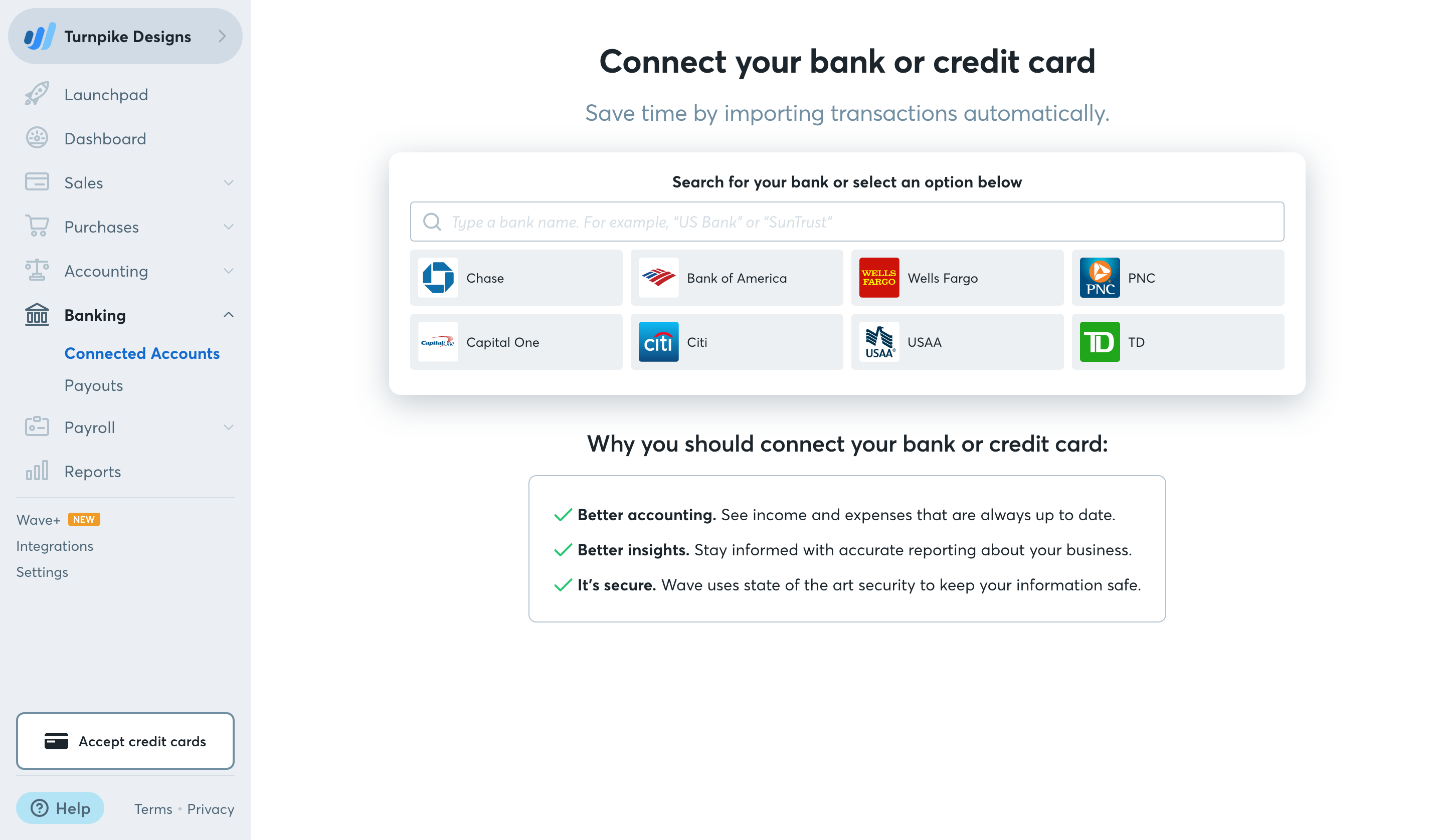 Connect your bank account to Wave – Help Center