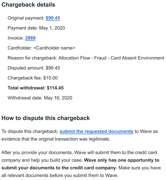 Email showing the chargeback portal button