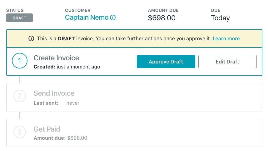 approving the draft will allow you to send the invoice however changes can still be made to invoice after this point this will save the invoice and make - Make An Invoice