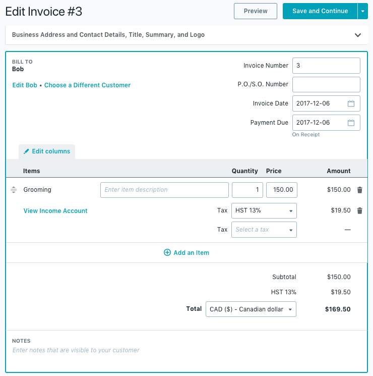 youll be able to edit any of the data you entered when creating the invoice make any necessary changes and click save and continue when youre done - How To Make An Invoice