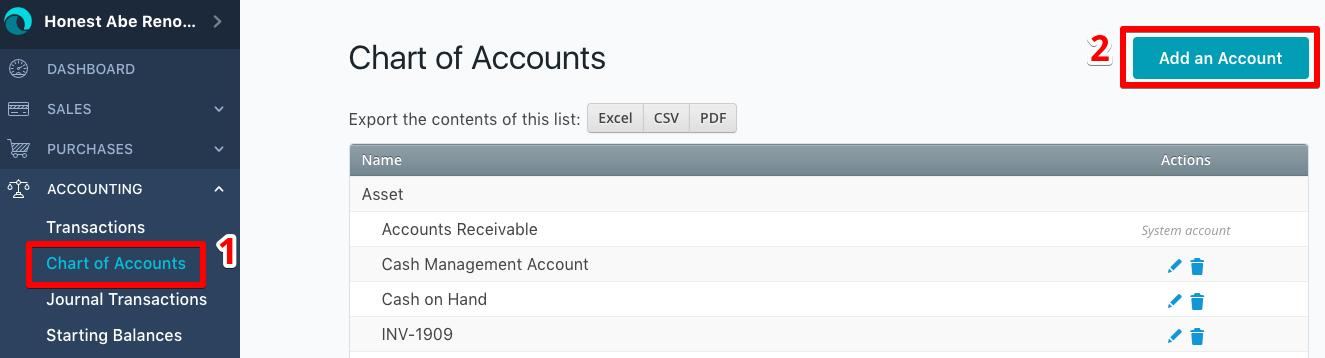 wave account how to delete income account