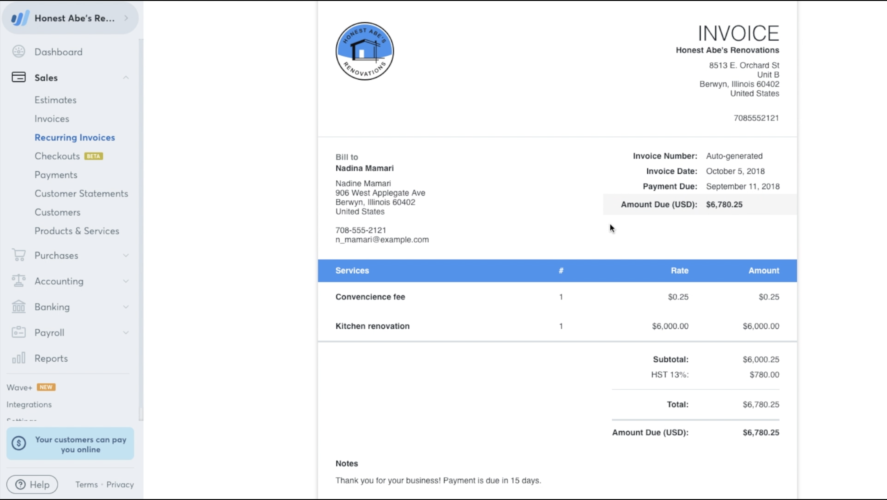 Recurring Invoices GoAutomatic With Wave Video Help Center - Invoice credit card payment